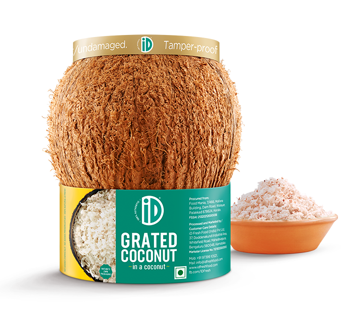 iD Grated Coconut in a Coconut