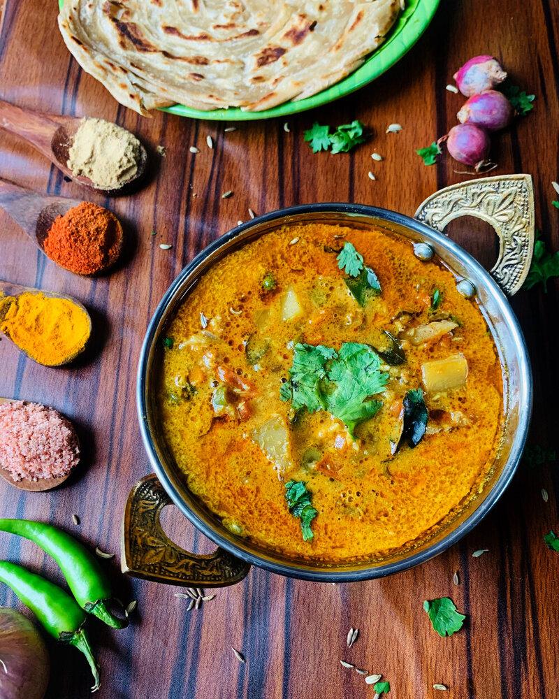 veg salna curry, veg saln,a veg salna images, parotta salna
