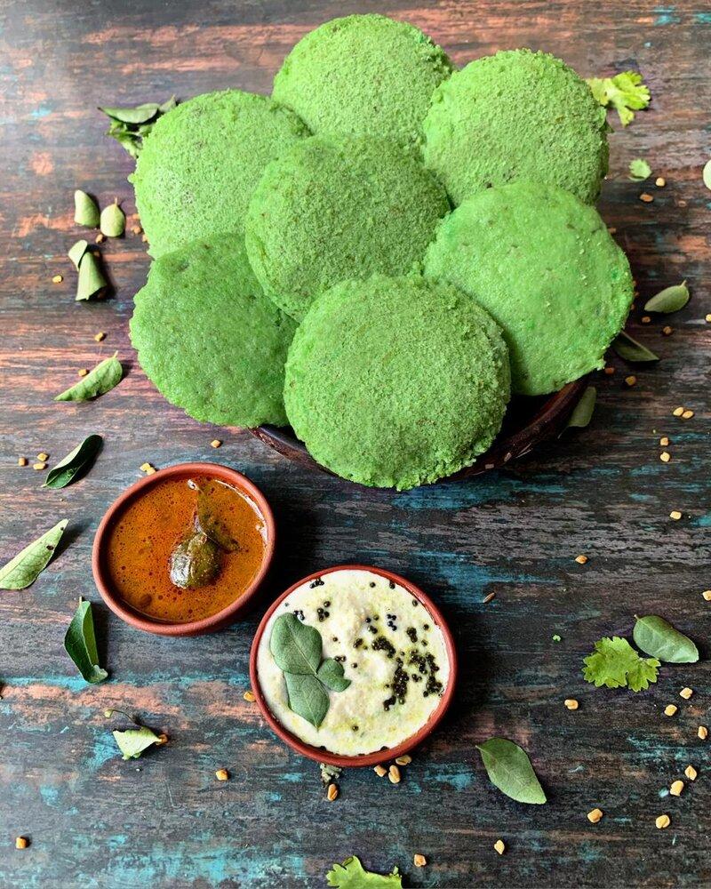 green gram idli recipe, spinach idli recipe, idli recipe, idli variety, types of idli